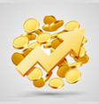 business growth arrow with gold coins vector image vector image