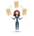 businesswoman holding a diploma or patent vector image vector image