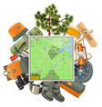 Camping Concept with Map vector image vector image