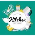 Cartoon kitchen utensil collection spoon pot food vector image vector image