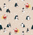 christmas santa claus snowman and penguin with vector image vector image