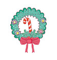christmas sweet cane with wreath vector image vector image