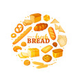 circle shape composition from cartoon style bread vector image vector image
