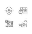 civil aviation safety flights linear icons set