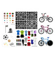 collection of sport equipment icons on white backg vector image vector image