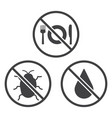 do not eat bug and wet icons vector image