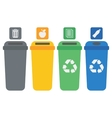 Four colored recycling bins