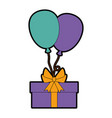gift box present with balloons air vector image vector image