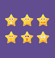 glossy star characters set bright star with vector image