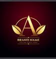 golden leaves letter a concept logo in premium vector image vector image