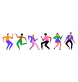 group young happy dancing people vector image