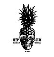 hand drawn pineapple skull in a sunglasses tee vector image
