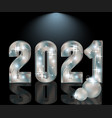 happy silver new 2021 year invitation card vector image vector image