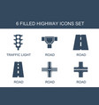 highway icons vector image vector image