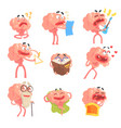 humanized brain cartoon character with arms and vector image vector image