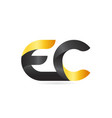 joined or connected ec e c yellow black alphabet vector image vector image