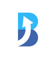 letter b up arrow logo icon blue concept vector image vector image