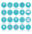 light bulbs colored flat line icons led lamps vector image vector image