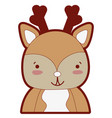 line color adorable and happy deer wild animal vector image vector image