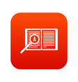 magnifying glass over open book icon digital red vector image vector image