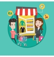 Man and woman doing shopping online vector image vector image
