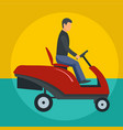 man at grass cutting machine icon flat style vector image vector image