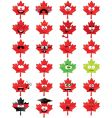 maple leaf shaped smiley faces vector image vector image