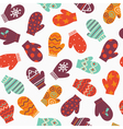 Mittens bright winter seamless pattern vector image vector image