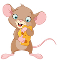 Mouse holding a piece of cheese vector image