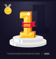 number one with red ribbon winner concept modern vector image
