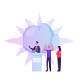 people support speaker candidate standing on vector image vector image