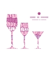 pink ruffle fabric stripes three wine glasses vector image vector image