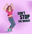 pop art happy young woman dancing disco poster vector image vector image