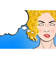 pop art retro comic style blond woman with close vector image vector image