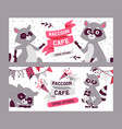 raccoon cafe grand opening set banners vector image