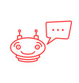 red thin line simple chatbot icon vector image vector image