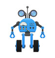 robot on wheels spy lenses and control panel vector image vector image