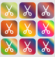 Scissors icon sign Nine buttons with bright vector image vector image