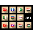 Set of flat flag icons of Eastern countries vector image