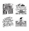 set vintage christmas lettering emblems vector image