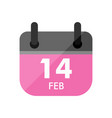 Simple valentine day calendar graphic vector image