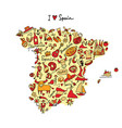 spain map made from design elements sketch design vector image vector image