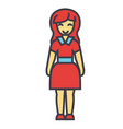 standing young happy woman in cute dress concept vector image vector image