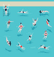 swimming pool men and women in water jumping and vector image vector image