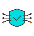 tech circuit shield line icon minimal pictogram vector image vector image