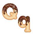 tempting typography font design 3d donut letter q vector image vector image