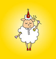 the sheep is a magician with a magic wand drawing vector image