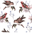 vintage floral seamless background with birds vector image vector image