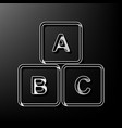 abc cube sign gray 3d vector image