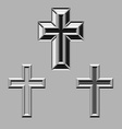 3D stone carved christian crosses vector image vector image